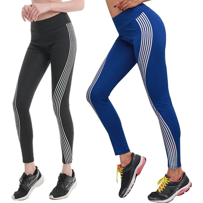 Seamless Shark Yoga Pants Women High Waist Stitching Women Fitness Yoga Pants High Waist Sportswear Stripes Laser Leggings