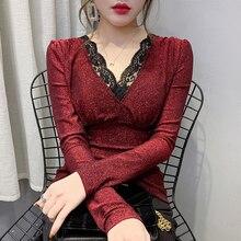 2020 חדש אביב סתיו קוריאני בגדים סקסי טלאי תחרה חולצה מבריקה נשים חולצות Ropa Mujer השפל חולצה Slim Tees T9D007