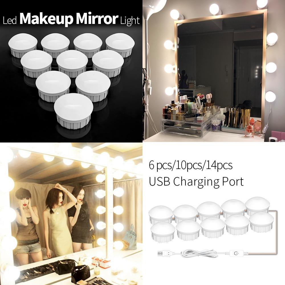 Led Vanity Light Makeup Mirror Light Bulb 12V LED USB Cable Powered Dressing Table Make Up mirror Lamp Decor Bathroom Wall lamp 1