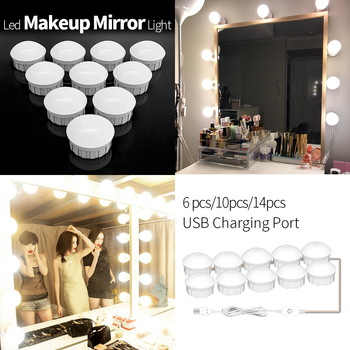 Led Vanity Light Makeup Mirror Light Bulb 12V LED USB Cable Powered Dressing Table Make Up mirror Lamp Decor Bathroom Wall lamp 1