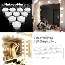 Doprowadziły światła w łazience lustro do makijażu żarówka 12V Led kabel USB zasilany toaletka, co zrobić, jeśli lampa lustrzana Decor łazienka ścienne lampa