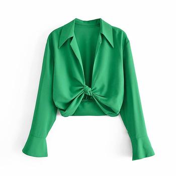 YENKYE New Fashion Vintage zielona wiązana bluzka koszula damska z kołnierzykiem z klapami typu Streetwear z długim rękawem Ropa Mujer lato Crop Crop tanie i dobre opinie CN (pochodzenie) POLIESTER SHORT Lato 2021 women blouse DWDD87365 Stałe Dla osób w wieku 18-35 lat Wykładany kołnierzyk