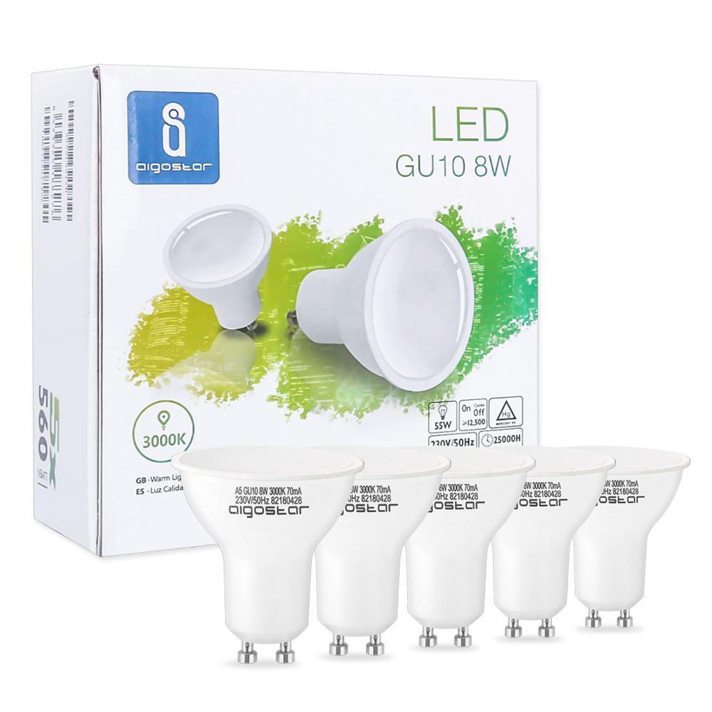 Aigostar - Bombilla LED 8W GU10, Luz calida 3000K, 560lm, 8W Equivalente a 55Watt Lámpara Incandescente, Caja de 5 unidades [Clase de eficiencia energética A+] [Clase de eficiencia energética A+] Foco Led de trabajo cob 8000LM lámpara recargable uso 2*18650 batería led luz magnética portátil gancho clip impermeable