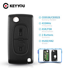 Флип-ключ KEYYOU VA2/HU83 Blade, 2 кнопки, флип-ключ для Peugeot 307, 3008, 308, 408, 433 МГц, ID46, 7941, CE0536, CE0523
