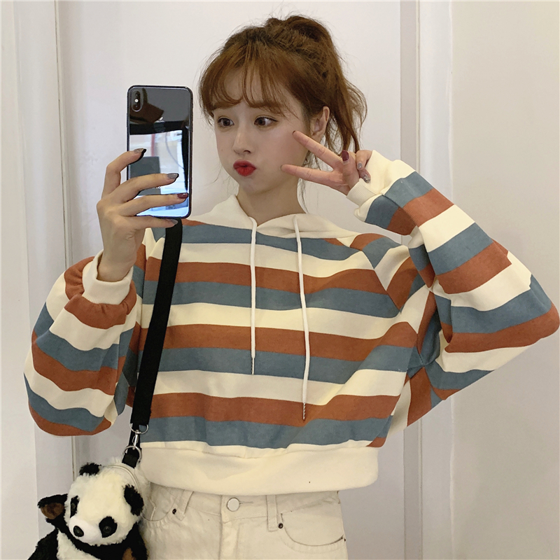 autumn style sweet long sleeve new hoodies and pullover striped hooded Drawstring crop top Women's Clothing Korean Ladies hot 14