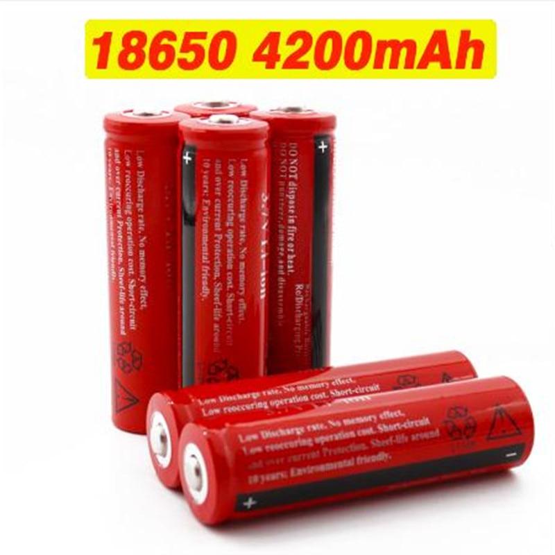 100% Новый оригинальный 18650 Аккумуляторная Батарея 18650 4200 mAh 3,7 V Батарея для Светодиодный Фонари фонарь