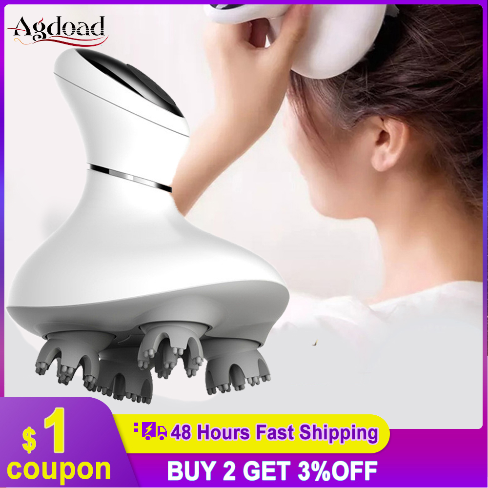 Electric Head Massager 3D Waterproof Wireless Scalp Massager Promote Hair Growth Body Deep Tissue Kneading Vibrating Massage