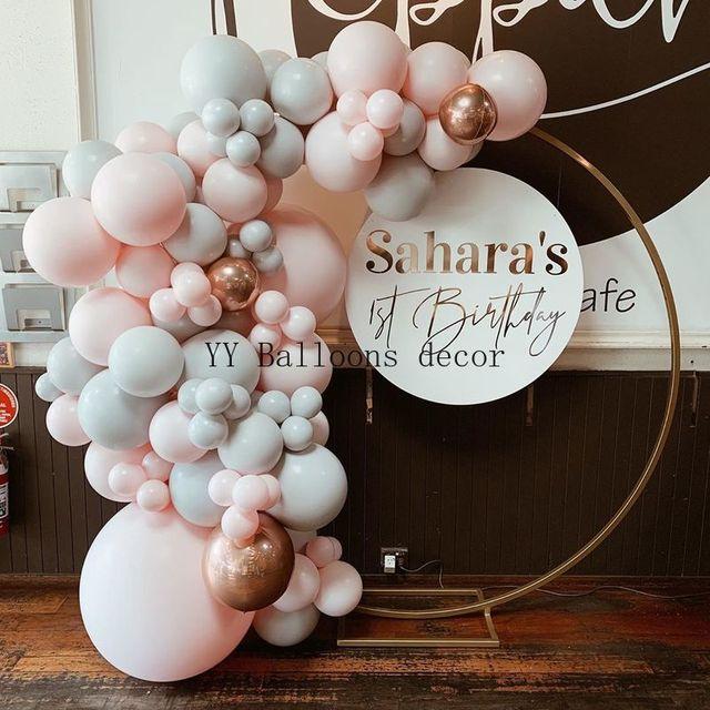 159pcs Pink Macaron Balloon Arch Garland Gray Rose Gold Confetti Balloon for Baby Birthday Wedding Party Decoration Supplies