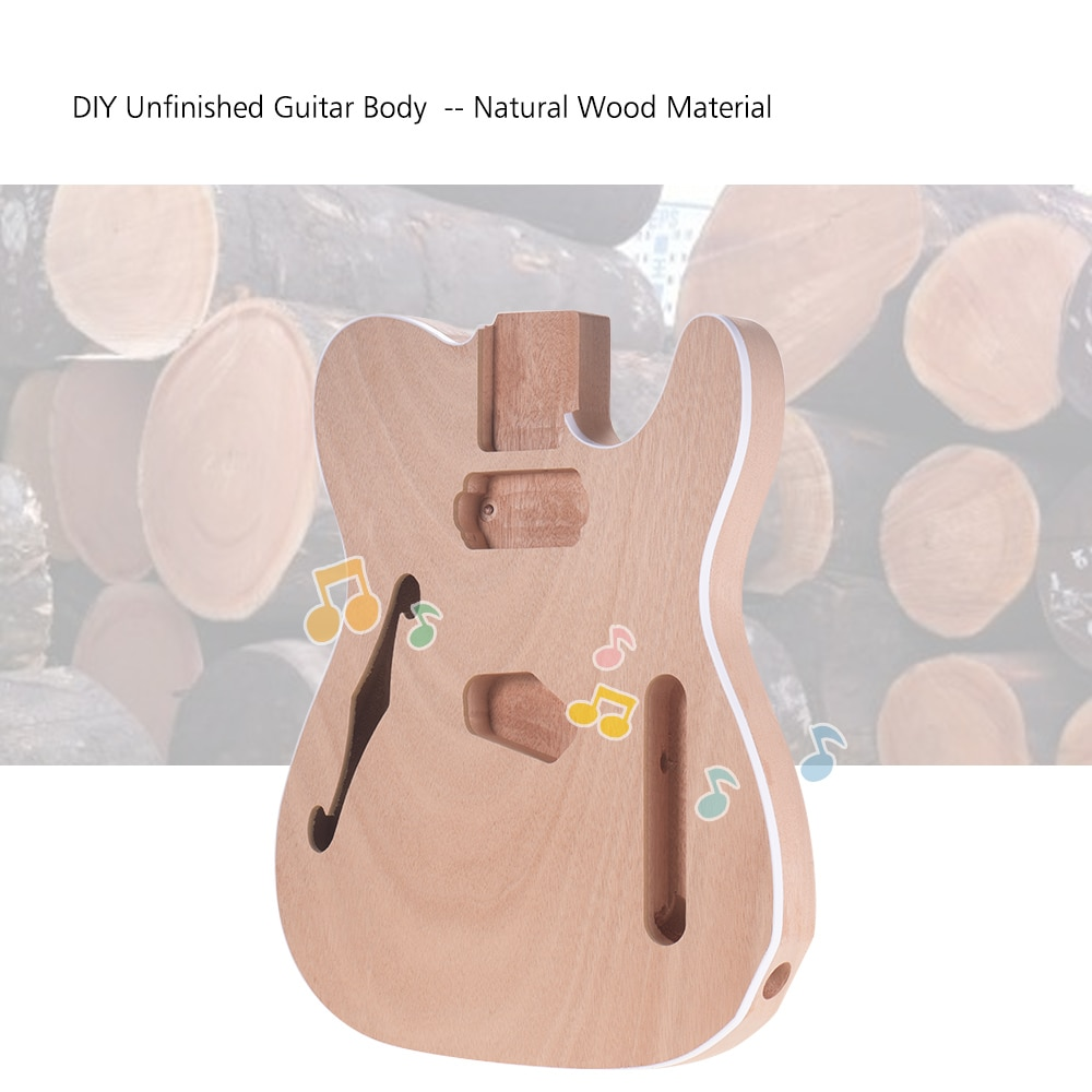 Muslady TL-F Unfinished Electric Guitar Body Blank Guitar Body Barrel DIY Mahogany Wooden Body Guitar Parts Accessories