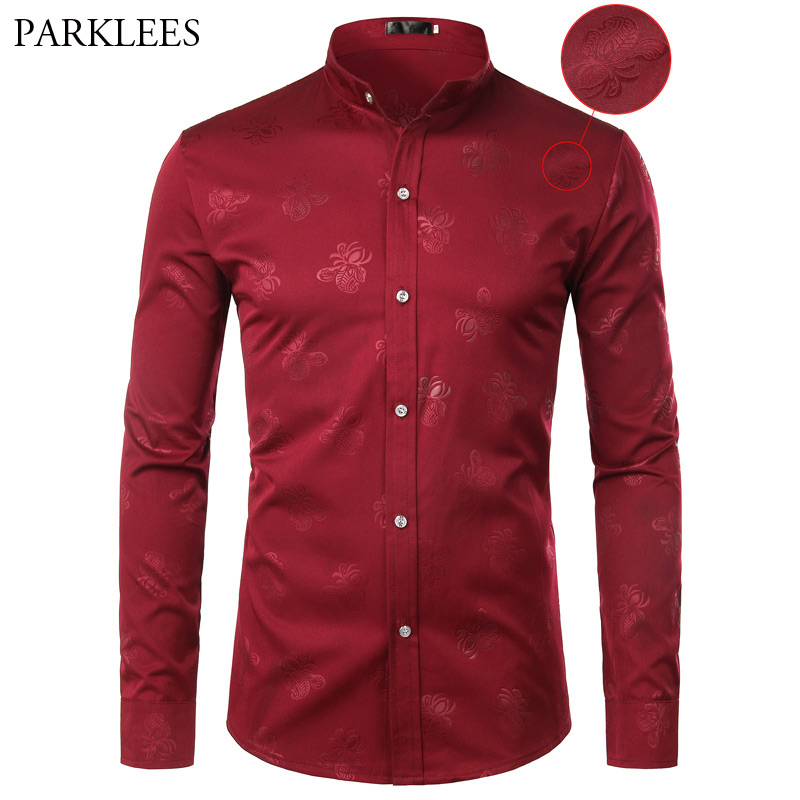 Wine Red Floral Shirt Men Spring New Long Sleeve Mandarin Collar Mens Dress Shirts Casual Slim Fit Wedding Party Chemise Homme