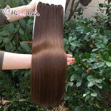 HiArt 100г машина сделала уток наращивание волос в фабрика человеческих волос Remy супер двойного переплетения рисованные прямые волосы русские 18