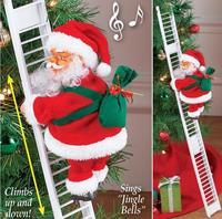 2020 سانتا كلوز تسلق سلم الكهربائية دمية سانتا كلوز تعليق شجرة الكريسماس حلية في الهواء الطلق داخلي باب الجدار الديكور