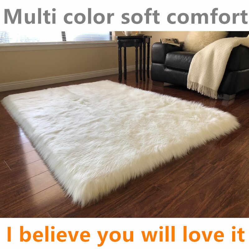 tapis de sol rectangulaire doux en peau de mouton pour adultes coussin chaud de luxe couleur ivoire pour salon et chambre a coucher pour yoga