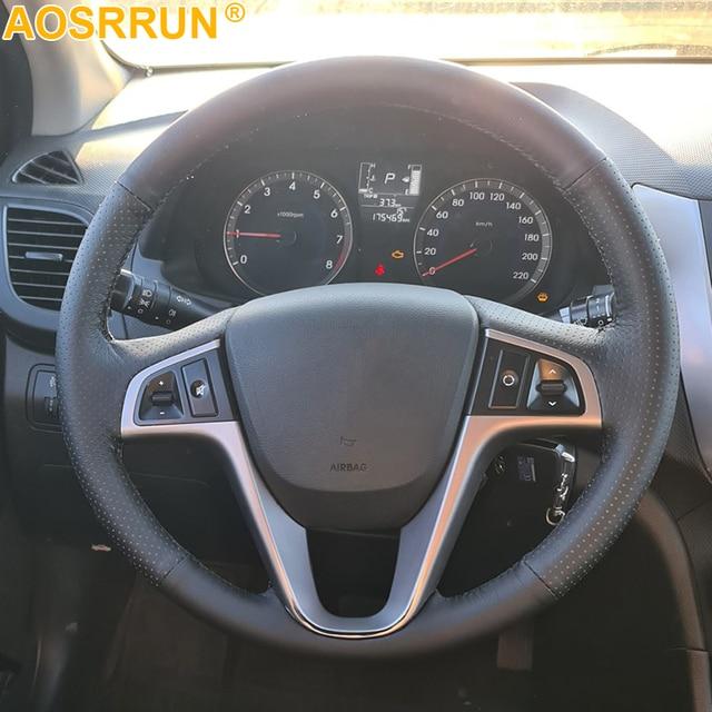 AOSRRUN Car accessories Genuine leather Car Steering wheels cover For Hyundai Solaris  i25 i20 Accent 2009 2014 sedan hatchback