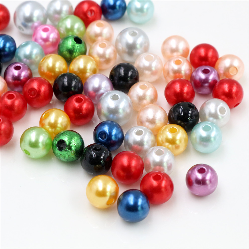 Hot Sale 50pcs 8MM Mixed Color Fashion Bright Candy Color Acrylic Pears Spacer Loose DIY Bracelets & Necklaces Making-Z4-15