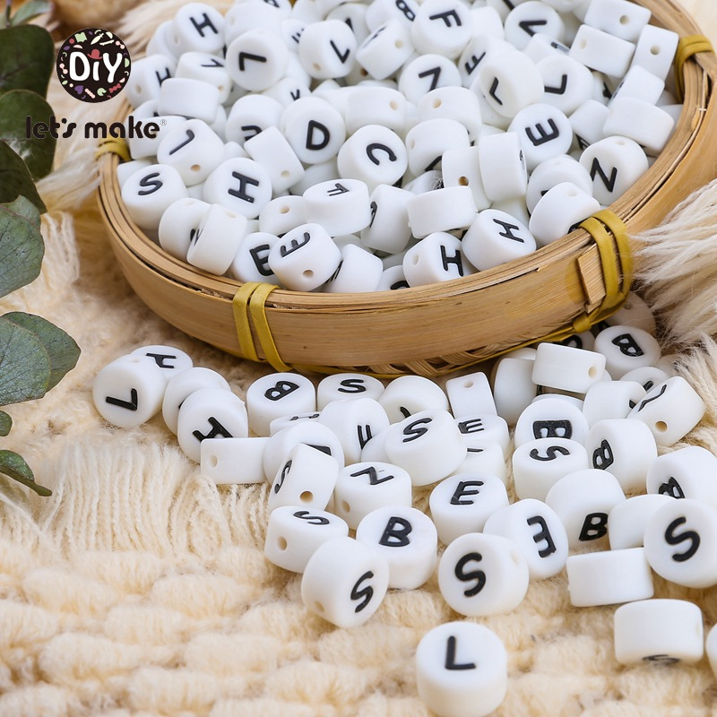 Let's Make 12mm Silicone Letters Beads Bpa Free Round Teething Beads Baby Teether DIY Baby Pacifier Personalization Accessories