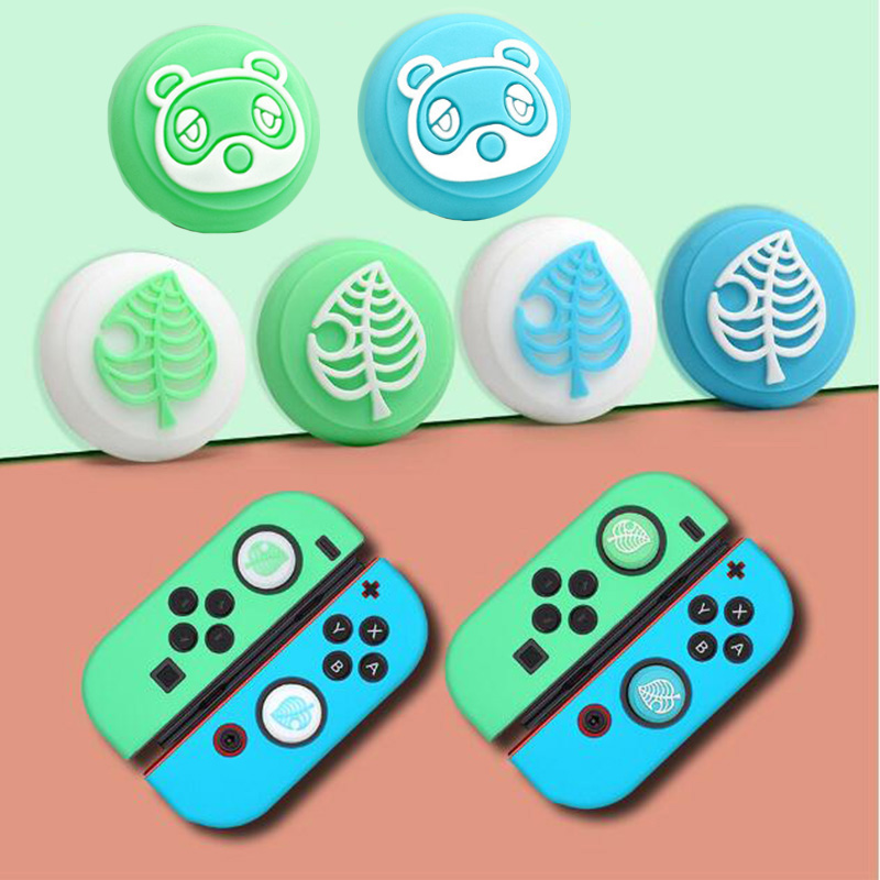 Animal Crossing Bear Leaf Pad Thumb Stick Grip Cap Joystick Cover For Nintendo Switch NS Lite Joy-Con Controller Thumbstick Case