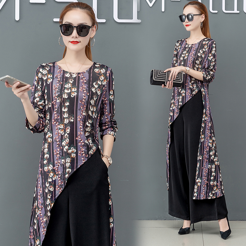 Printed Two Piece Sets Outfits Women Plus Size Splicing Long Tops And Wide Leg Pants Suits Elegant Office Fashion Korean Sets 41