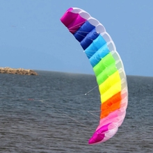 1.4/2/2.7m Rainbow Dual Line Kitesurfing Stunt Parachute Soft Parafoil Surfing Kite Sport Kite Large Outdoor Beach Flying Kite