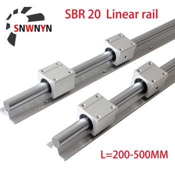 SBR20 200 500 1500mm 2pcs Linear Guide Rail+4pcs SBR20UU Bearing Blocks For CNC Part 20mm Rail Free Shipping