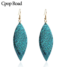 Cpop Shiny Double Layers Genuine Goat Leather Earrings for Women Statement Feather Glitter Dangle Jewelry Gifts