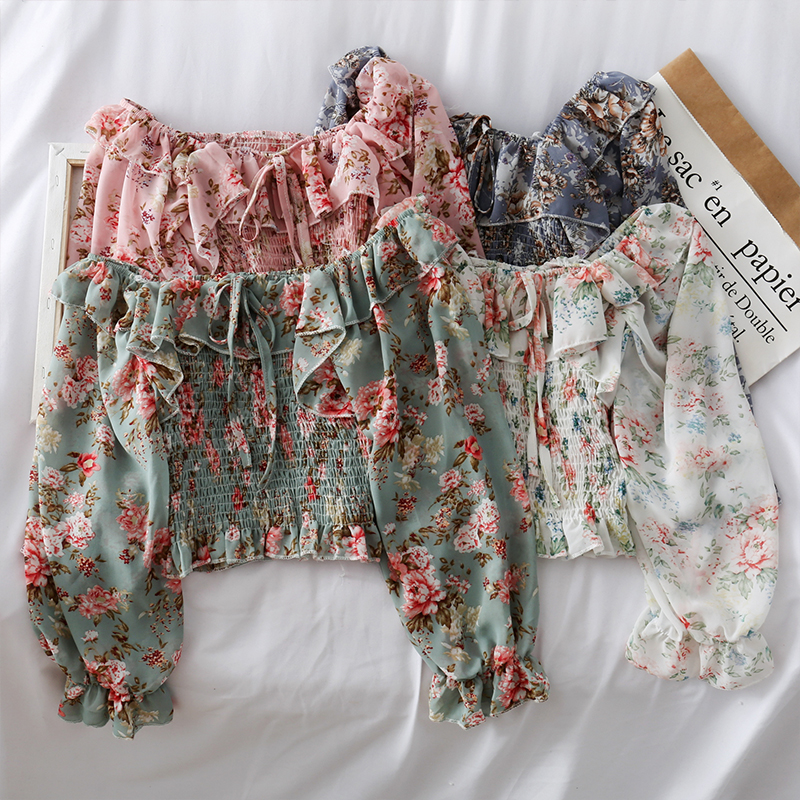 New One-shoulder Floral Lace Tie Ruffled Chiffon Shirt Female Pleated Was Thin Puff Sleeve Bottoming Shirt