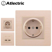 Atlectric EU FR Standard Wall Outlet Aluminum Alloy Metal Panel Socket 86mm*86mm Home Electric Power Socket