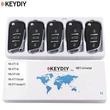 5 pces, chave remota universal multi funcional para kd900 kd900 + urg200 nb series, keydiy nb11 (todas as funções chips em uma chave)