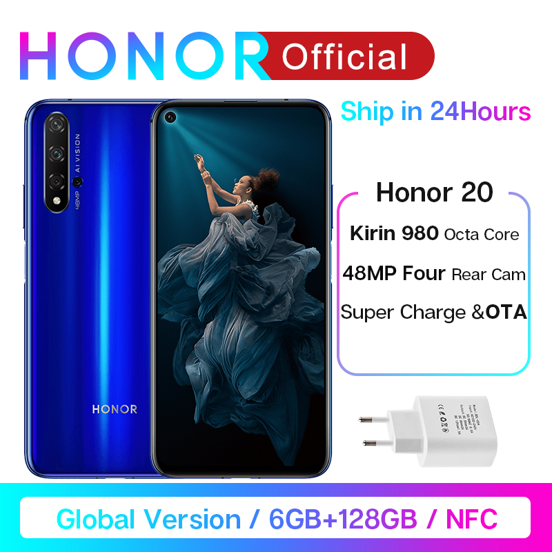 Global Version Honor 20 Smartphone Kiri 980 Octa Core 6.26'' 6GB128GB 48MP Four Camera SuperCharge Mobile Phone NFC Google Play