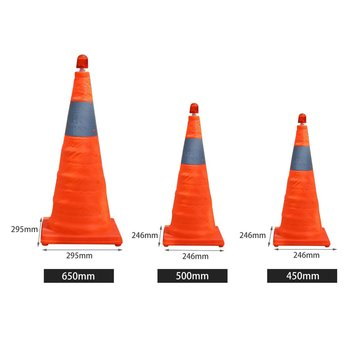 4cm5/50cm/65cm Reflective Traffic Cone NEW Folding Collapsible Orange Road Safety Cone Traffic Pop Up Parking Multi Purpose 6