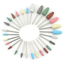 28 tipos de broca de silicona para uñas, pulidora de uñas, fresa rotativa, cortador para manicura, accesorios de taladro, herramientas de pulido de pies