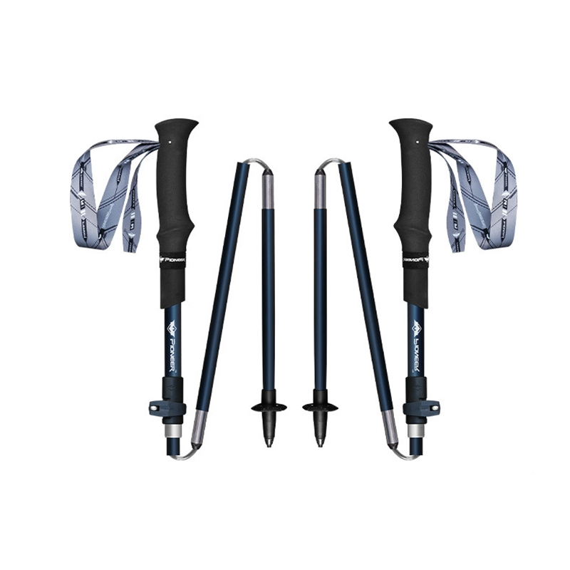 Pioneer 1Pair Carbon Fiber And Aluminum Trekking Poles Quick Lock <font><b>5</b></font> Sections Outdoor Portable Ultralight Cane For Hiking Walking image