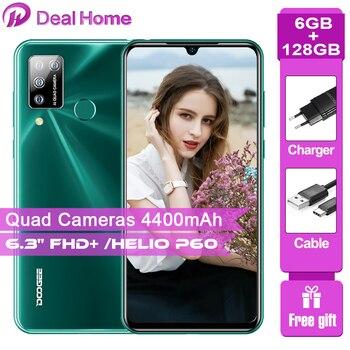 Перейти на Алиэкспресс и купить DOOGEE N20 Pro 6,3 ''FHD + безрамочный экран 6 ГБ + 128 Гб Смартфон Helio P60 Octa Core 16MP Quad камеры глобальная Версия Мобильный телефон 4400 мАч
