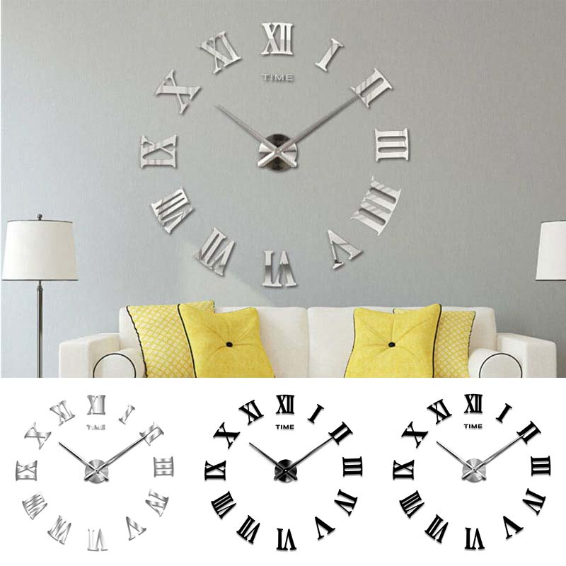 3D DIY Number Decal Frameless Wall Clock Room Decoration
