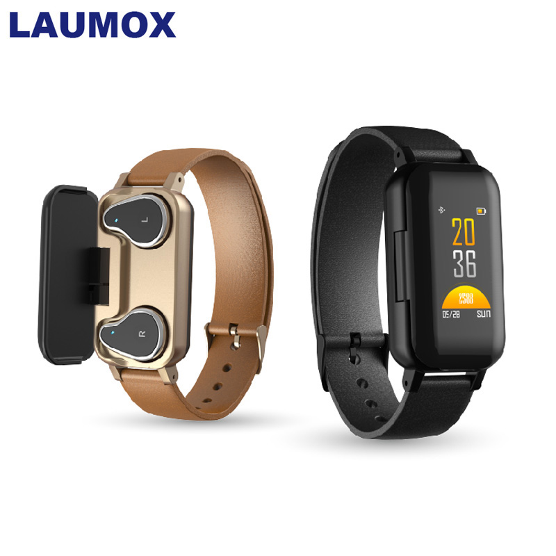 LAUMOX <font><b>T89</b></font> <font><b>TWS</b></font> Bluetooth Earphone 5.0 Smart Bracelet Watch Binaural Health Heart Rate Monitoring Sports Smart Watch Men Women image