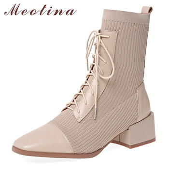 Meotina Winter Ankle Boots Women Natural Genuine Leather Chunky Heel Short Boots Knitting Square Toe Shoes Ladies Autumn Size 39