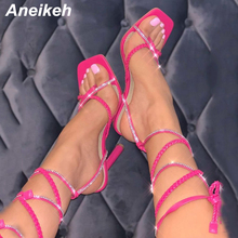 Aneikeh 2021 Summer LACE UP TWIST TOE THONG STILETTO HEELS Weave PU Women Sandals Fashion Cross-Tied Square Head Party Shoes 42