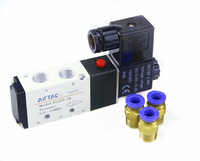 "Free Shipping 1/4"" 2 Position 5 Port AirTAC Air Solenoid Valves 4V210-08 Pneumatic Control Valve , 12v 24v 110v 220v"