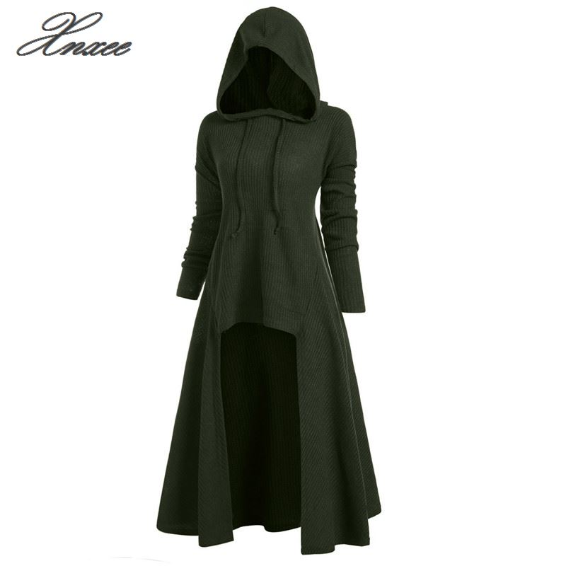 Xnxee Plus Size Hooded Ribbed Sweater Female Long Sleeve High Low Sweaters Women Pullover