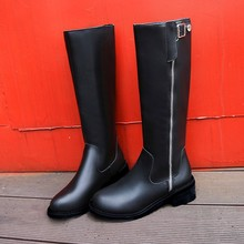 Womens winter fashion 2019 new autumn womens black boots slim zipper side Med (3cm-5cm) Knee-High Yasialiya