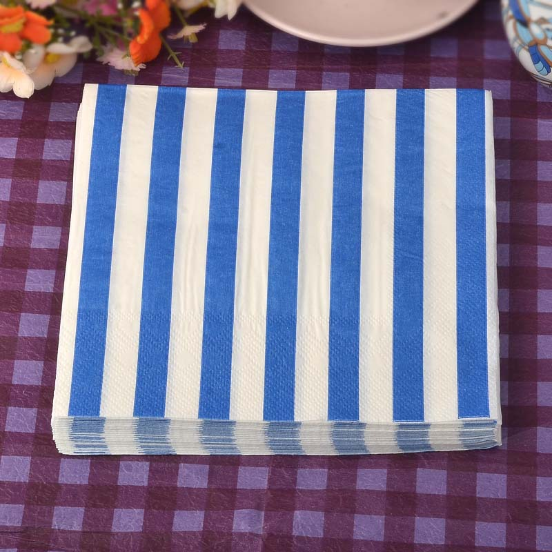 Blue Striped Printed Napkin Birthday Wedding Dining Mat For Hotel Cup Stained Paper Paper Mouth Cloth Towel