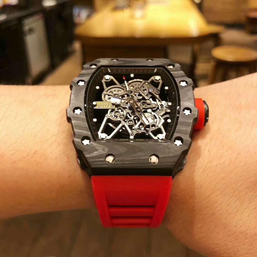 Reloj de caucho negro de marca de lujo para hombre, cristal de zafiro, fibra de carbono mecánica automática, plata, negro, AAA, calendario de tourbillon