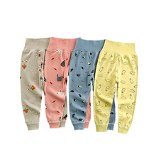 2021 Spring Girls Boys Pants Toddler Baby Bottoming Leggings Children Cotton Cartoon Trousers High Waisted Newborn Kids Clothes
