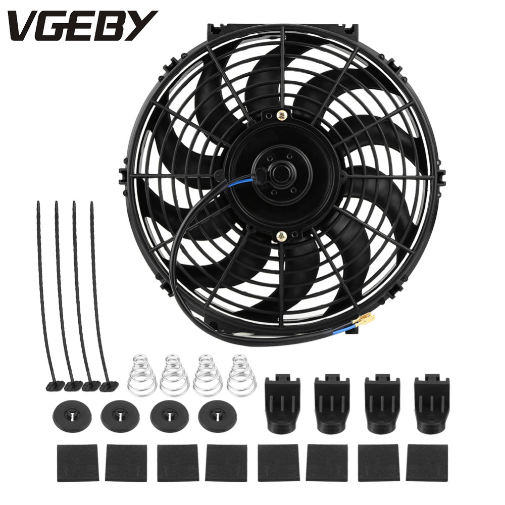 kit de montaje negro 12 V ventilador de motor de coche Ventilador de refrigeraci/ón universal para radiador de 12 pulgadas 80 W ventilador intercooler el/éctrico
