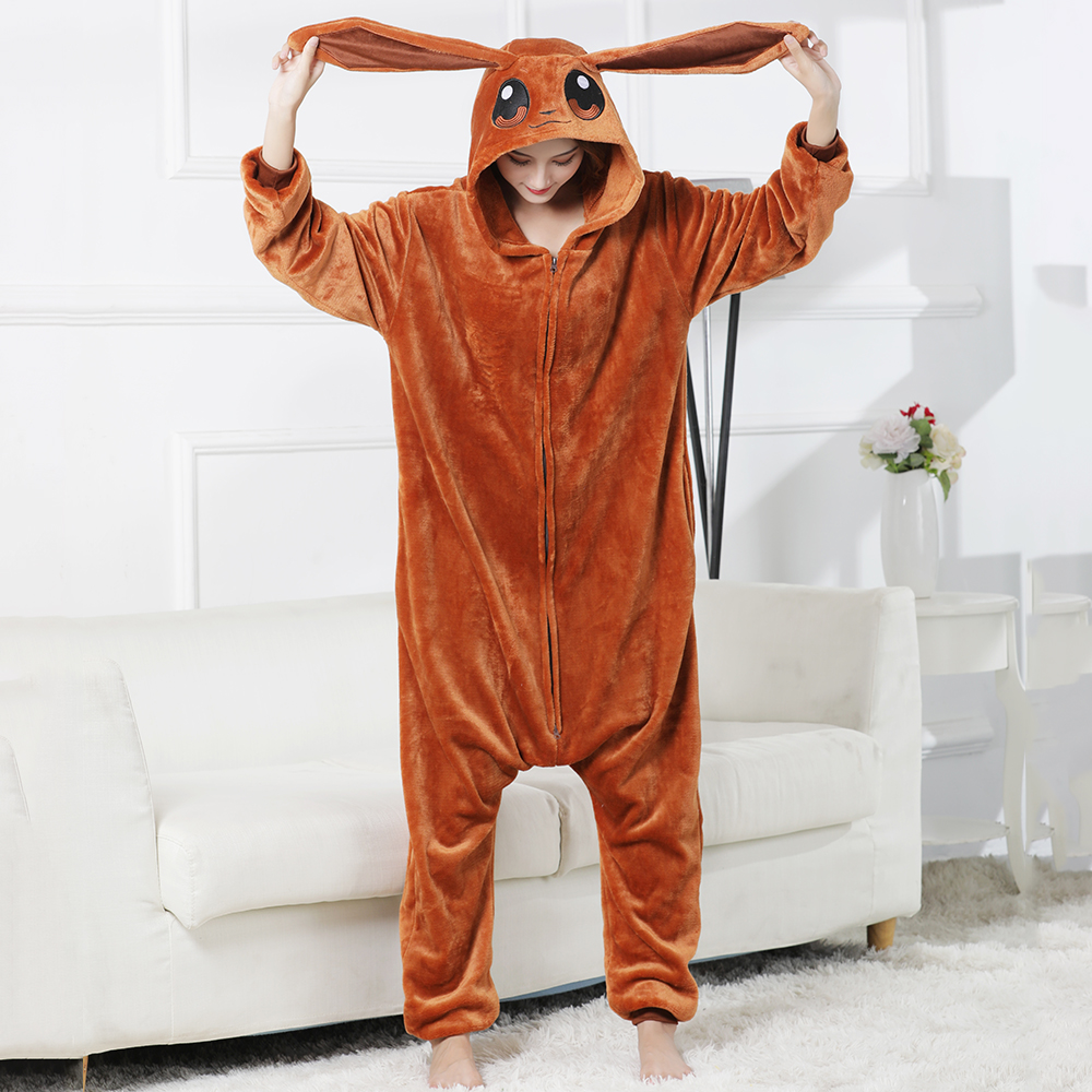 LongEarsRabbitWomen Animal Onesie Sleepwear Kigurumis Pajama Funny Suit Rompers Unisex Flannel Homewear Brown Costume Apparel