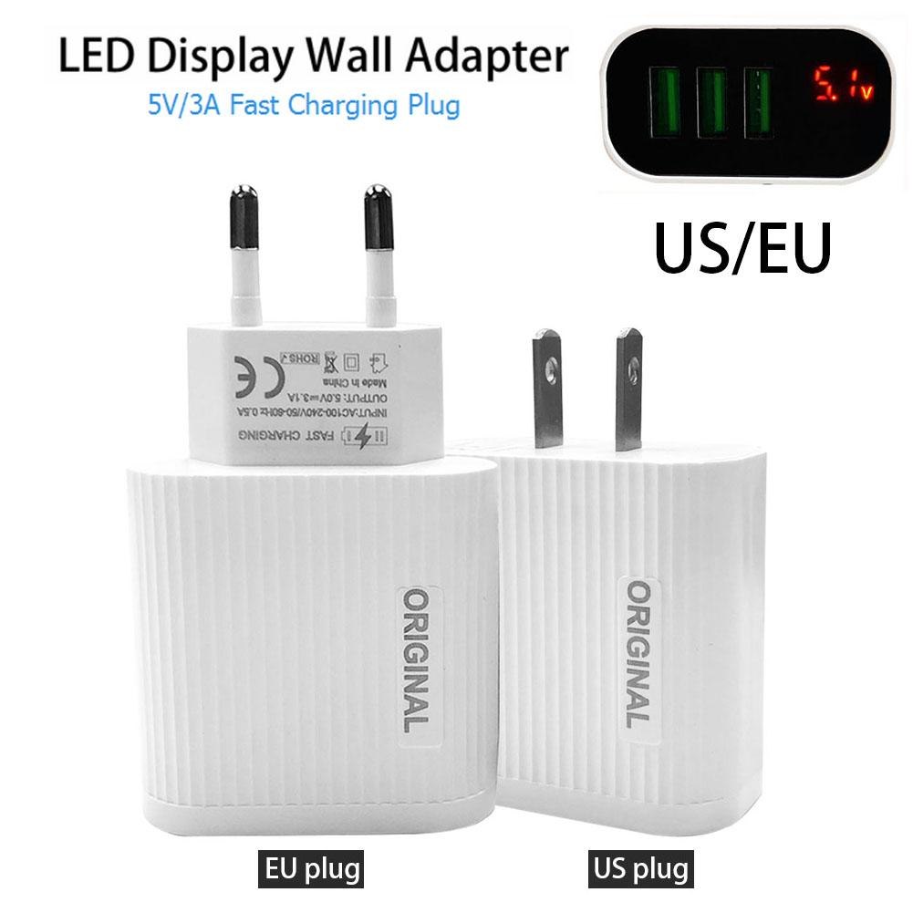 Fast-Charger Mobile-Phone Led-Display Travel Eu/Us-Plug 3 USB 5V 3port Home