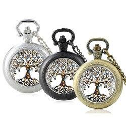 Black Classic Fashion The Tree of Life Design Glass Cabochon Quartz Pocket Watch Vintage Men Women  Pendant Necklace Chain