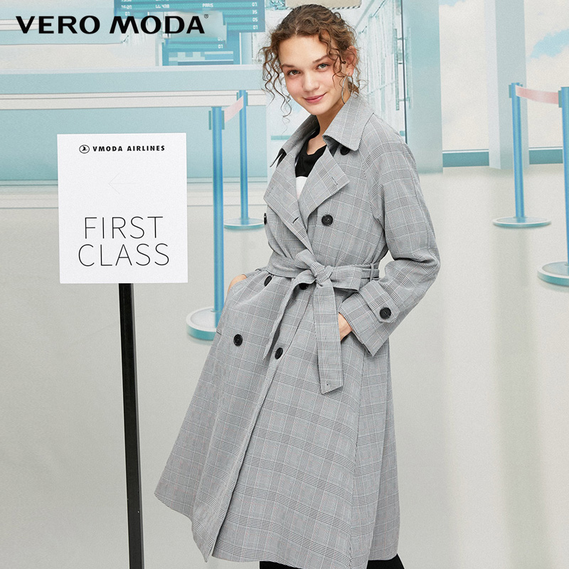 Vero Moda Women England Style Slim Fit Plaid Trench Coat | 319321552