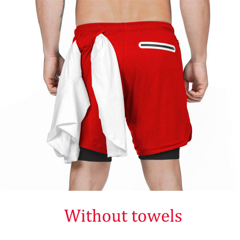 Red buckle-Summer Running Shorts Men 2 in 1 Sports Jogging Fitness Quick Dry