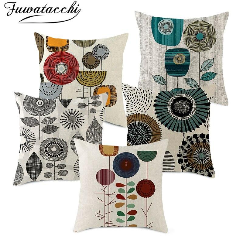 Fuwatacchi Geometric Linen Cushion Cover Dandelion Printed Chair Pillow Covers Decoration Home Sofa Throw PillowCases 45cmX45cm